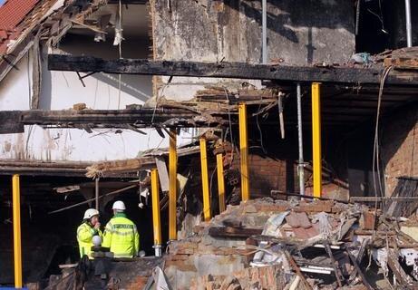 <p> Das explodierte Haus an der Frühlingsstraße am Dienstag nach der Explosion.</p>
