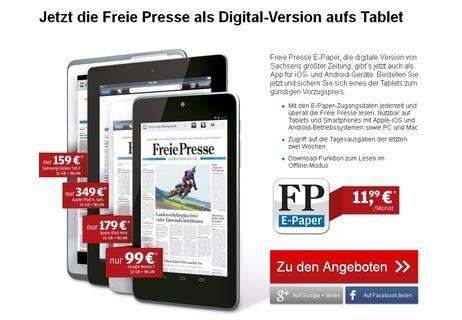 """<p> <a href=""""https://www.digitalpaket.de/geraeteauswahl.html""""> </a></p> <div class=""""ce_text text_right block""""> <p> Freie Presse E-Paper, die digitale Version von Sachsens größter Zeitung, gibt's jetzt auch als App für iOS- und Android-Geräte. Bestellen Sie jetzt und sichern Sie sich eines der Tablets zum günstigen Vorzugspreis.</p> </div> <p> <a href=""""https://www.digitalpaket.de/"""" target=""""_blank"""">https://www.digitalpaket.de/</a></p>"""