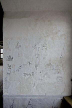 <p> Die kleinen Reiter, Krieger, Bogenschützen, Türme, Textzeilen, Ornamente und Karikaturen wie ein nackter König fügten sich zu einer Art Comic zusammen, teilte die Staatliche Schlösserverwaltung in Dresden mit. «</p>