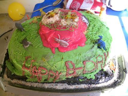 <p> Solch eine Geburtstagstorte haben die Kinder hier noch nie gesehen. Gebacken hat sie die 15-jährige Enkelin der Wirtin der n'Kwazi Lodge</p>