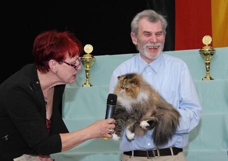 <p> Moderatorin Kerstin Pfeil versucht einer Perserkatze ein Miau zu entlocken. Katzenfreunde wissen: Auf Kommando geht bei den Samtpfoten gar nichts …</p>