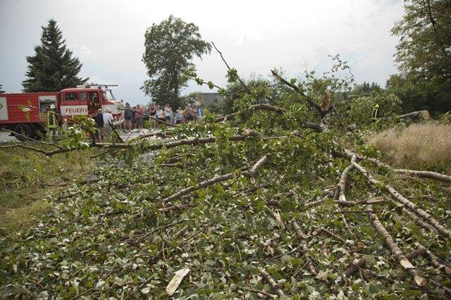 """<p> <span class=""""Text"""">Zahlreiche Feuerwehren mussten ausrücken, um vollgelaufene Keller leer zu pumpen und umgestürzte Bäume von den Straßen zu räumen. </span></p>"""