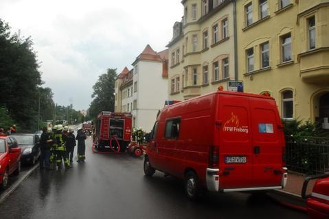 <p> Auch in Freiberg traf der Blitz einen Dachstuhl und setzte ihn in Brand.</p>