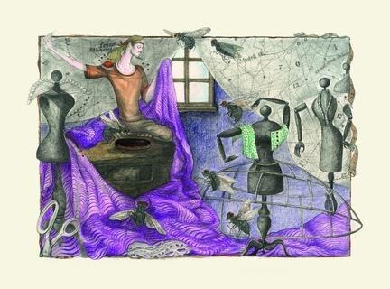 <p> Die Illustration entstand für eine 1987 veröffentlichte Ausgabe des Grimm-Märchens &quot;Das tapfere Schneiderlein&quot;. Das Original ist derzeit in Oelsnitz zu sehen, ein weiteres Blatt der Sammlung in Berlin.</p>