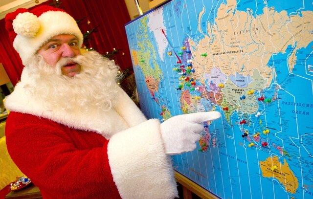 <p> Auf der Weltkarte sind alle Länder markiert, aus denen Weihnachtspost gekommen ist. Seit den 1960er-Jahren gibt es in Deutschland Postfilialen, die die Wunschbriefe der Kinder beantworten.</p>