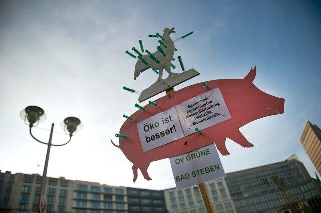 """<p> Auf Transparenten hieß es unter anderem """"Kein Gen-Food"""", """"Gegen Wachstumswahn"""" oder &quot;Öko ist besser&quot;.</p>"""