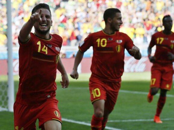 <p> Lange tat sich Belgien schwer, am Ende aber drehten sie noch die Partie gegen Algerien: Dries Mertens feiert seinen 2:1-Siegtreffer.&nbsp;Foto: Dennis Sabangan<br /> 17.06.2014 (dpa)</p>