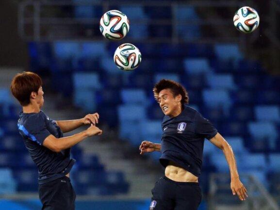 <p> Trotz der vielen fliegenden Bälle behalten die Südkoreaner beim Abschlusstraining den Überblick. Foto: Jose Coelho<br /> 18.06.2014 (dpa)</p>