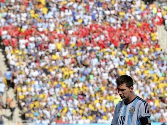 <b>Ohne Tor</b><br/>Lionel Messi ist während des Spiels gegen die Schweiz zu keinem Treffer gekommen. Foto: Sebastiao Moreira<br/>01.07.2014 (dpa)