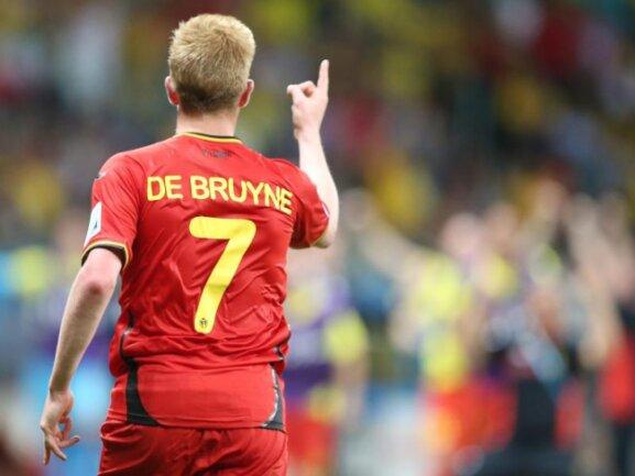 <b>Torjäger</b><br/>Endlich ein Tor: Belgiens Kevin De Bruyne erzielt in der ersten Hälfte der Verlängerung das 1:0 gegen das US-Team. Foto: Srdjan Suki<br/>02.07.2014 (dpa)