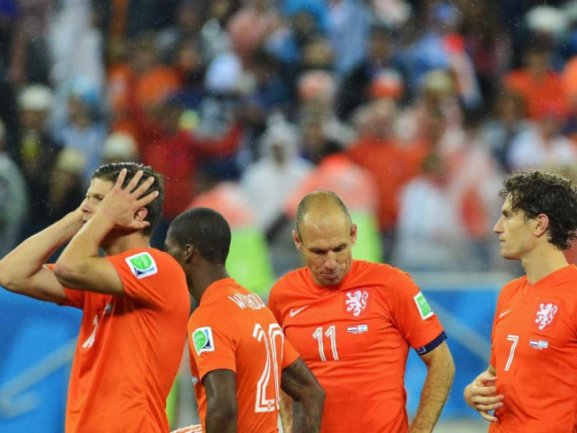 <b>Geschlagen</b><br/>Oranje geschlagen - und wieder bleibt der Traum vom ersten WM-Titel unerfüllt. Foto:Koen Van Weel<br/>10.07.2014 (dpa)