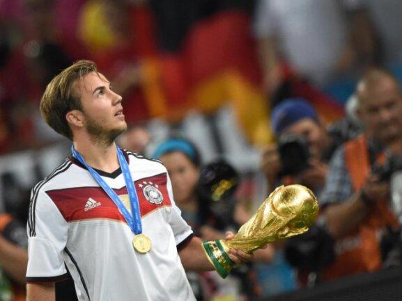 <b>Matchwinner</b><br/>Mario Götze machte Deutschland mit seinem Treffer zum Weltmeister. Foto: Marcus Brandt<br/>14.07.2014 (dpa)
