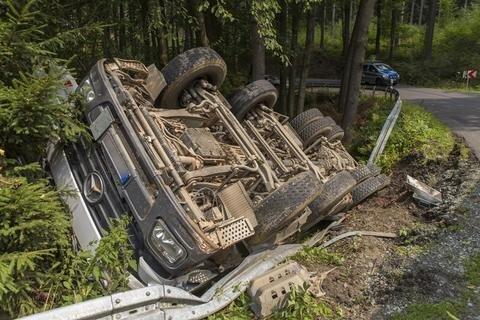 <p> Schwerer Unfall auf der S 228 zwischen Waldkirchen und Augustusburg.</p>