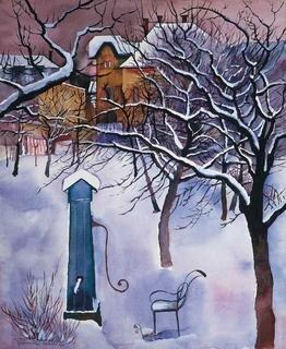 Conrad Felixmüller, Klotzsche – Garten im Winter, 1931, Aquarell, 53 x 43 cm