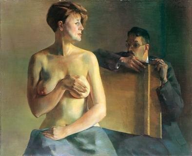 Conrad Felixmüller, Londa vom Ai betrachtet, 1933, Öl auf Leinwand, 90,5 x 110,5 cm