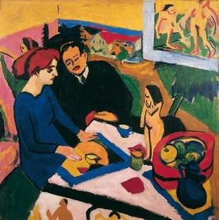 Ernst Ludwig Kirchner, Erich Heckel und Dodo im Atelier, Öl auf Leinwand, 120 x 120 cm