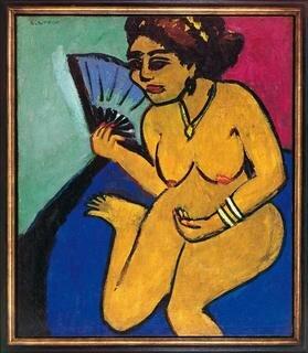 Ernst Ludwig Kirchner, Sitzender Akt mit Fächer, 1911, Öl auf Leinwand, 73,7 x 63,3 cm