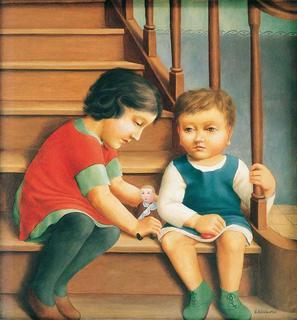 Georg Schrimpf, Kinder auf der Treppe, 1925, Öl auf Leinwand, 58 x 53 cm
