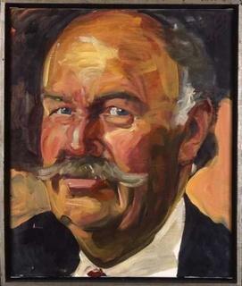 Johannes Grützke, Potrtät Alfred Gunzenhauser, 1991, Öl auf Leinwand, 60 x 40 cm