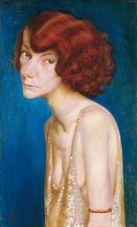 Otto Dix, Rothaarige Frau (Damenporträt), 1931, Mischtechnik auf Leinwand auf Holz, 60, 5 x 36, 5 cm