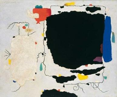 Willi Baumeister, Taru-Turi, 1954, Öl auf Hartfaserplatte, 54 x 65 cm