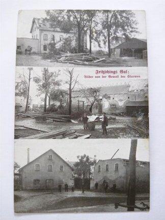 """<p> """"Wagen und Geräte, die im Hofe standen, wurden emporgehoben und zerschellten dann an den Wänden der Gebäude"""", schrieb die """"Volksstimme"""" über die Zerstörungen an Fritzschings Gut an der Glösaer Straße in Furth.</p>"""