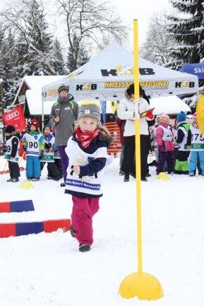"""<p>22. Januar: Beim Biathlonwettbewerb Kita-Team-Cup des Kreissportbunds in Sayda mussten Knirpse, wie hier Melina Meike von der Kita """"Sonnenland"""" aus Oederan, nicht Skilaufen und Schießen, sondern Schlängellauf zu Fuß und Zielweitwurf absolvieren. Die Organisatoren freuten sich mit 230 Mädchen und Jungen aus ganz Mittelsachsen über einen neuen Teilnehmerrekord bei der Veranstaltung.</p>"""