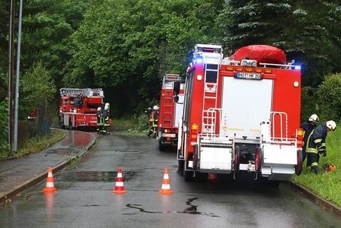<p>Die Feuerwehr musste am Sonntagvormittag an der Talstraße in Hohenstein-Ernstthal die Straße beräumen.</p>