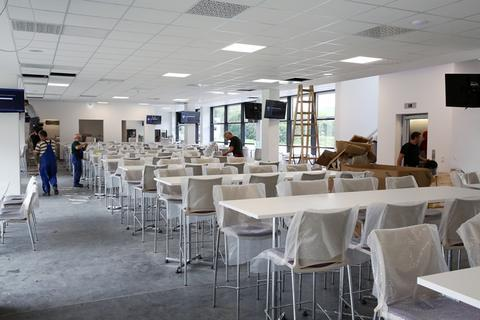 <p>Der VIP-Bereich im ersten Obergeschoss des Funktionsgebäudes.</p>