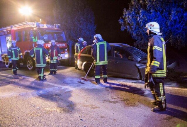 <p>Der Wagen durchfuhr einen Straßengraben und kollidierte mit einem Straßenbaum.</p>
