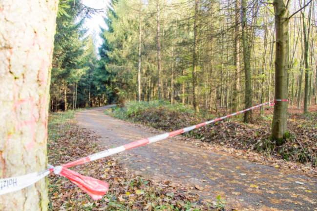 <p>Der Sachsenforst rät, Waldspaziergänge zu vermeiden. Im Wald zwischen Stollberg und Thalheim wurde Absperrband gezogen.</p>