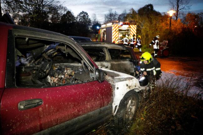 <p>Nach Polizeiangaben ist ein Toyota auf dem Parkplatz des Wasserschlosses aus bisher ungeklärter Ursache in Brand geraten. Das fahrerlose Fahrzeug machte sich selbstständig, durchbrach eine Hecke und setzte noch einen abgestellten Volvo in Brand.</p>