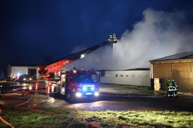 <p>Im Stadtteil Langenau an der Freistraße stand die Lagerhalle eines Landwirtschaftsbetriebes in Flammen.</p>