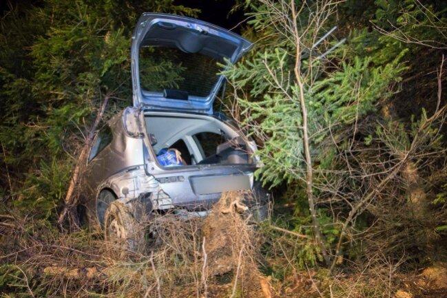 <p>Aus bisher ungeklärter Ursache fuhr die Opel-Fahrerin vor der Abfahrt Amtsberg in einen Straßengraben und anschließend in den angrenzenden Wald.</p>