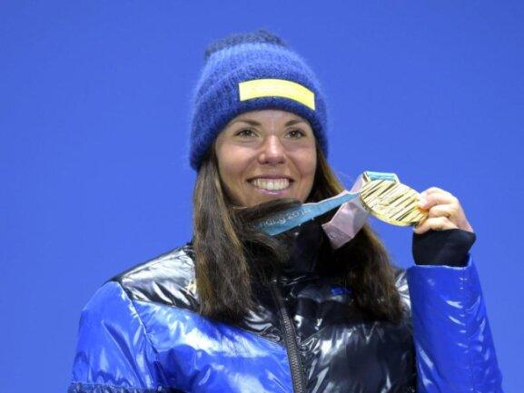 <b>Erste</b><br/>Charlotte Kalla holte die erste Goldmedaille in Pyeongchang. Die schwedische Langläuferin gewann den Skiathlon. Foto: Vesa Moilanen/Lehtikuva<br/>10.02.2018 (dpa)