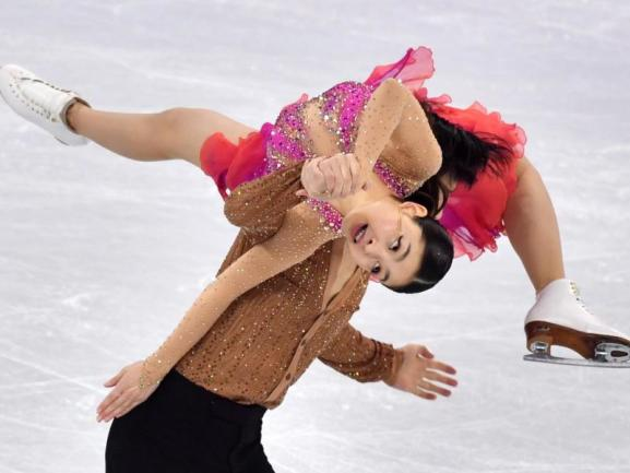 <b>Harmonie</b><br/>Die US-Eistänzer Maia und Alex Shibutani in perfekter Harmonie. Foto: Peter Kneffel<br/>11.02.2018 (dpa)