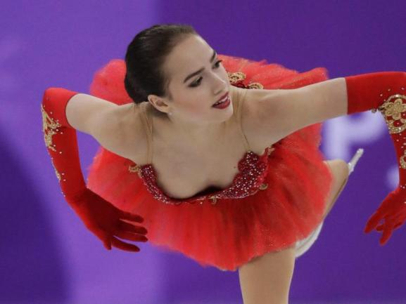<b>Gewagt</b><br/>Offenherzig präsentierte sich die Eiskunstläuferin Alina Sagitowa vom Team « Athleten aus Russland» (OAR) beim Mannschafts-Wettbewerb. Foto: Julie Jacobson/AP<br/>12.02.2018 (dpa)