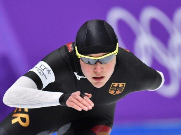 <b>Cool</b><br/>Eisschnellläuferin Gabriele Hirschbichler beim Rennen über 1500 Meter im Gangneung Oval. Foto: Peter Kneffel<br/>12.02.2018 (dpa)