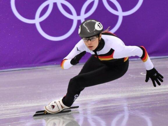 <b>Schnelles Aus</b><br/>Die deutsche Shorttrackerin Anna Seidel scheidet nach einem schlechten Start über 500 Meter im Viertelfinale in der Gangneung Ice Arena aus. Foto: Peter Kneffel<br/>13.02.2018 (dpa)