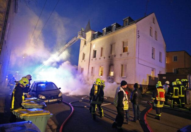 <p>Im Treppenhaus entwickelte sich starker Rauch.</p>