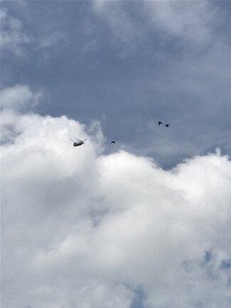 """<p>Auch ein """"Chinook"""" gehörte zu der Gruppe, die mittags zu beobachten war. Mindestens sechs Gruppen mit je vier oder fünf Helikoptern überflogen bis zum Abend die Region - jeweils im Abstand von etwa einer Stunde.</p>"""