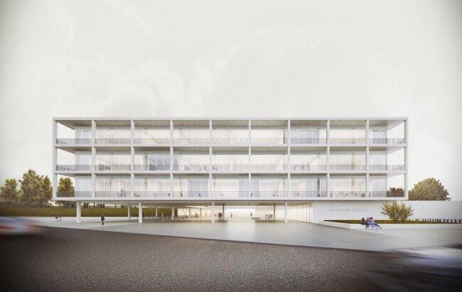 <p>Außenansicht von der Hartmannstraße aus. Vor dem Schulgebäude ist eine Haltestelle der künftigen Straßenbahnlinie nach Röhrsdorf und Limbach-Oberfrohna vorgesehen, die im Rahmen des Chemnitzer Modells in den kommenden Jahren errichtet werden soll.</p>