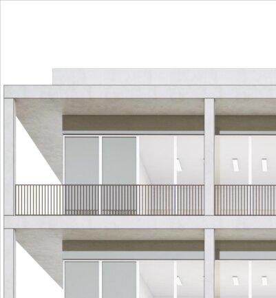 <p>Detail zur Außenansicht des Obergeschosses. Über die endgültigen Farben und Materialien soll im Zuge der anstehenden Feinplanung entschieden werden.</p>