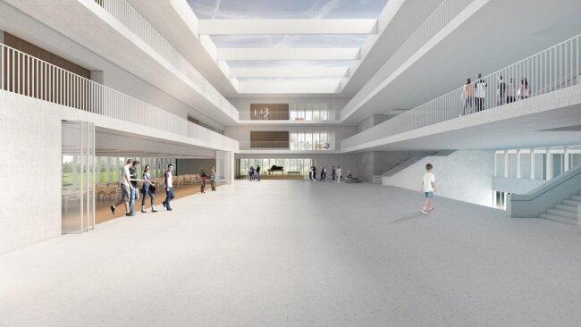 <p>Laubengänge prägen auch das Bild im Inneren des Schulgebäudes. Ein Glasdach sorgt für Oberlicht.</p>