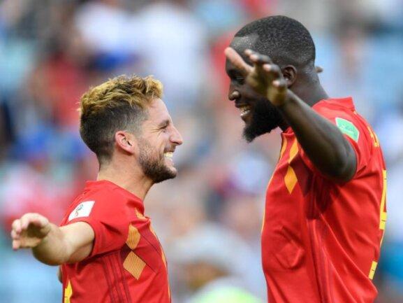 <b>Torschützen</b><br/>Der Belgier Dries Mertens bejubelt sein Tor zum 1:0 gegen Panama mit Romelu Lukaku, der später die beiden Treffer zum 3:0-Endstand beisteuert. Foto: Marius Becker<br/>18.06.2018 (dpa)