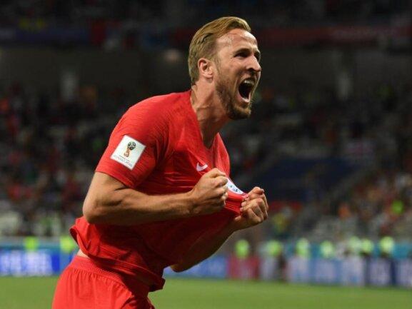 <b>Doppelpack</b><br/>Der Engländer Harry Kane aus England bejubelt sein Tor zum 2:1-Sieg gegen Tunesien. Foto:Andreas Gebert<br/>18.06.2018 (dpa)