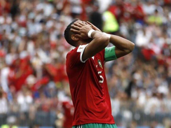 <b>Ausgeschieden</b><br/>Trotz einer leidenschaftlichen Leistung ist das Turnier für die Marokkaner bereits nach dem zweiten Spieltag zuende. Foto: F. Seco/AP<br/>20.06.2018 (dpa)
