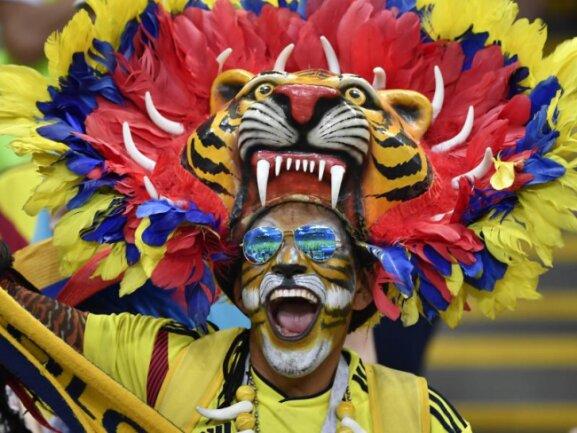 <b>Bissig</b><br/>Gut gebrüllt: Ein kolumbianischer Fan heizte den Spielern seines Landes im Gruppenspiel gegen Polen ein. Foto: He Canling/xinhua<br/>24.06.2018 (dpa)