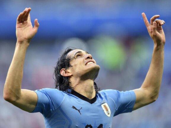 <b>Klarer Sieg</b><br/>Edinson Cavani jubelt über den Treffer zum 3:0 gegen Russland. Im Spiel um den Gruppensieg hat Uruguay dem Gastgeber seine Grenzen aufgezeigt. Foto: Martin Meissner/AP<br/>25.06.2018 (dpa)