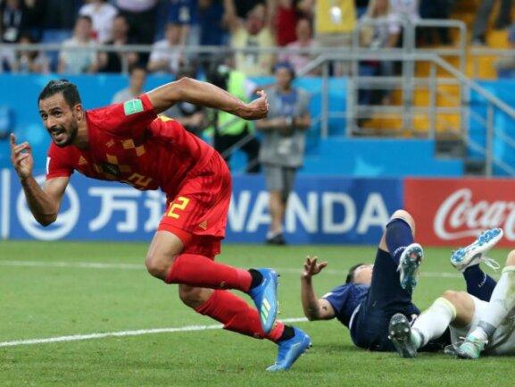 <b>Die Entscheidung</b><br/>Der Belgier Nacer Chadli (l) hat mit seinem Last-Minute-Treffer das entscheidende Tor zum 3:2 gegen Japan erzielt und startet zu einem Jublellauf. Foto:Bruno Fahy/BELGA<br/>02.07.2018 (dpa)